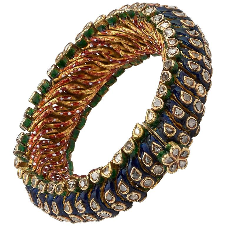 Antique Indian Enamel Diamond Gold Bracelet
