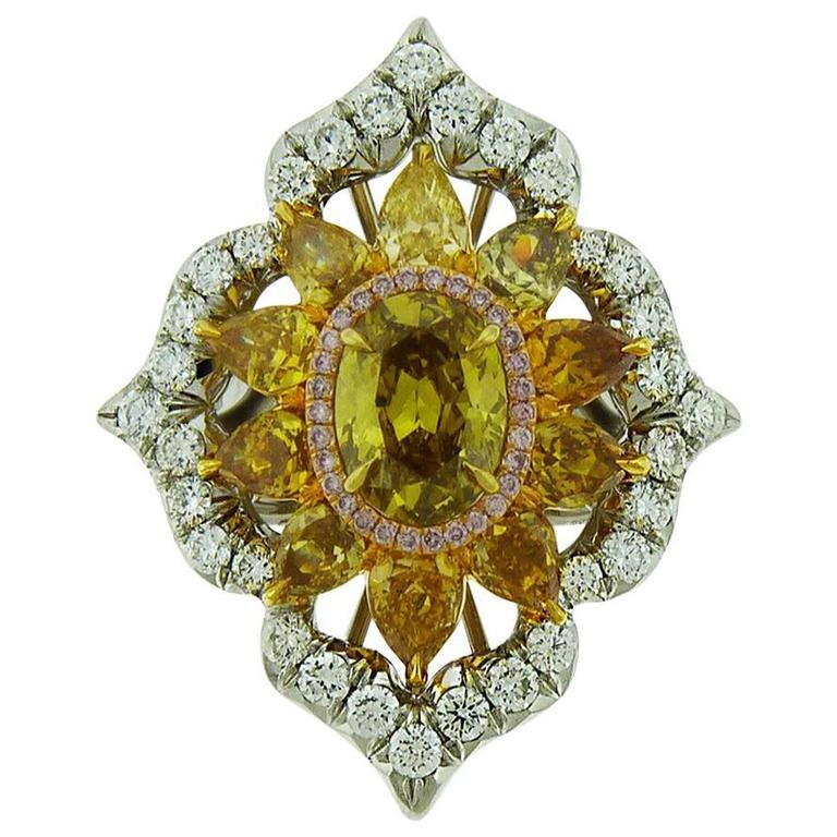 1 53 Carat Gia Cert Fancy Deep Brownish Yellow Diamond