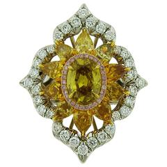 1.53 Carat GIA Cert Fancy Deep Brownish Yellow Diamond Gold Platinum Flower Ring