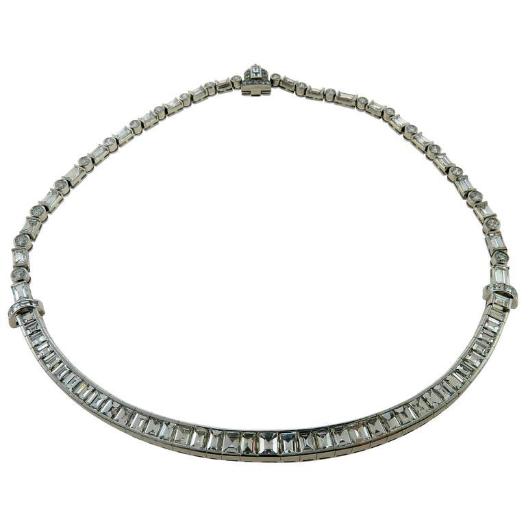 Graduated Line Baguette Cut Diamond and Platinum Necklace