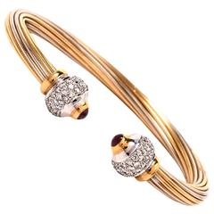 Italian Two Color Gold Cable Cuff Bracelet
