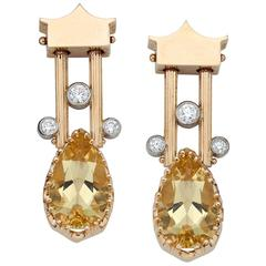 Heliodor Beryl Diamond Gold Pendant Earrings