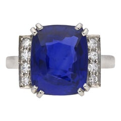 Art Deco Natural Sapphire Ring with Diamond Set Shoulders, circa 1935