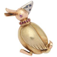 Retro Gold Goose Pin w Rubies & Sapphires