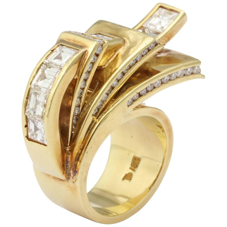 Diamond Gold High Style Ring