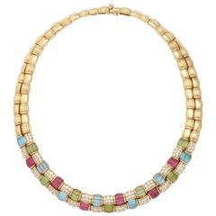 Fred Paris Multicolored Stone Diamond Gold Double Row Necklace