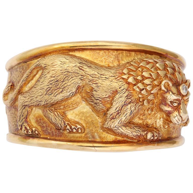 Diamond Gold Lion Cuff
