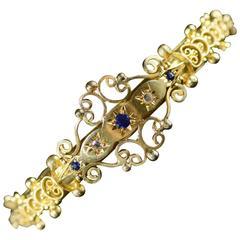 Victorian Sapphire Rose Cut Diamond Filigree Hinged Bangle Bracelet