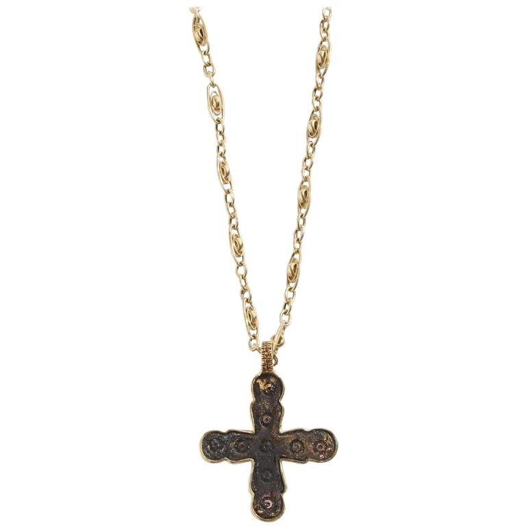 Ancient Byzantine Cross - Bronze Diamond Gold For Sale