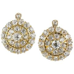8.00 Carats Diamonds Gold Cluster Earrings