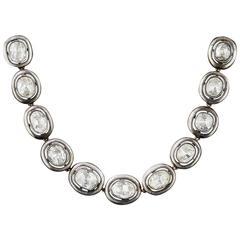 24 Carat Russian Rose-Cut Diamond Silver Gold Necklace
