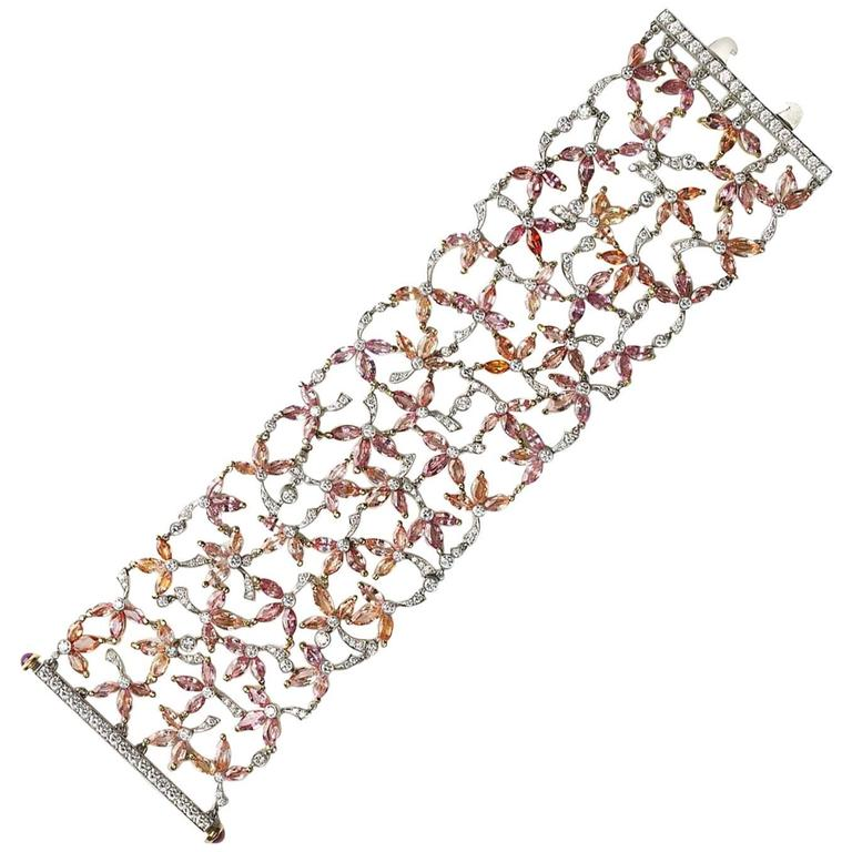 Padparadscha Sapphire Diamond Gold Platinum Flower Bracelet