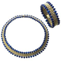 Lapis Lazuli Gold Necklace and Bracelet Suite