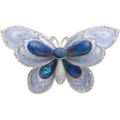 Opal Chalcedony Diamond Platinum Butterfly Brooch