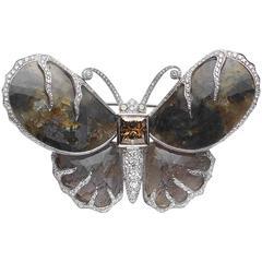 Brown Diamond Sapphire Diamond Platinum Butterfly Brooch