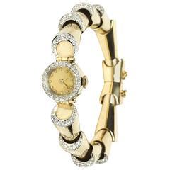 Ladies Yellow Gold Diamond Wristwatch