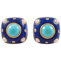 Trianon Lapis Turquoise Pearl Diamond Gold Earrings