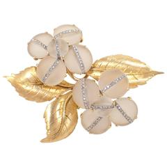 Crystal Diamond Gold Floral Brooch