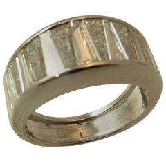 Wide Tapered Baguette Diamond Platinum Wedding Band Ring