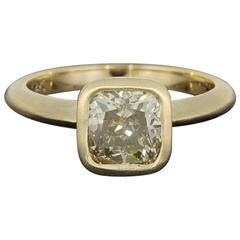 1.72 Carat GIA Cert Cushion Yellow Diamond Solitaire Engagement Ring