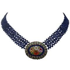 Early 20th Century Fine Micro Mosaic Brooch with Woven Faceted Lapis Bead Neckl