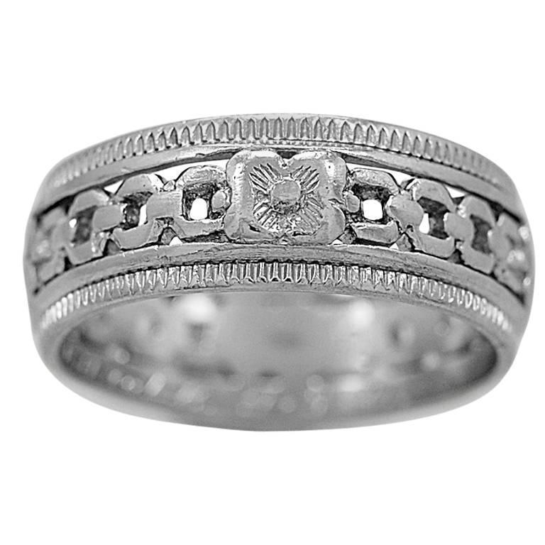 Art Deco Platinum Engraved Wedding Band Ring At 1stdibs