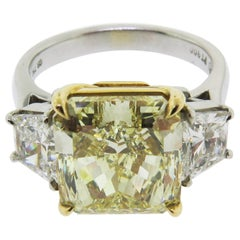 Fancy Yellow Diamond Platinum Engagement Ring