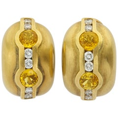 1997 Barry Kieselstein Cord Yellow and White Diamond Gold Ear Clips