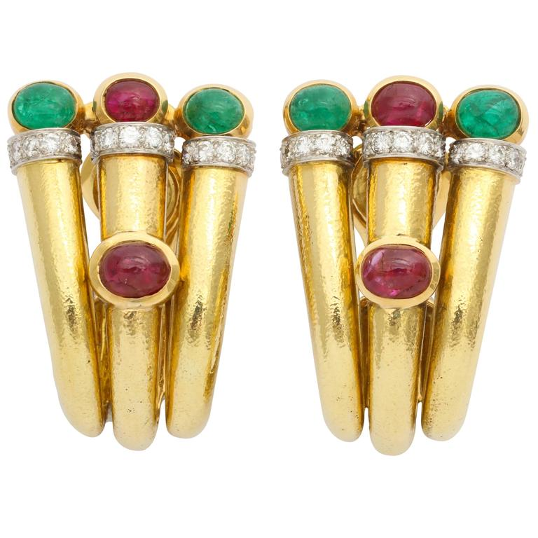 1980s David Webb Emerald Ruby Diamond Gold Ear Clips