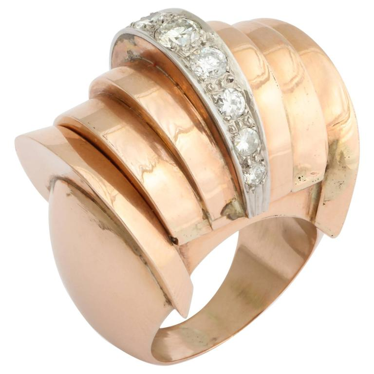 Retro Diamond Yellow Gold Watch Ring