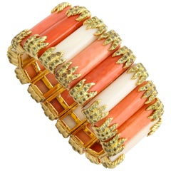 Tony Duquette Beautiful Coral Peridot Gold Bracelet