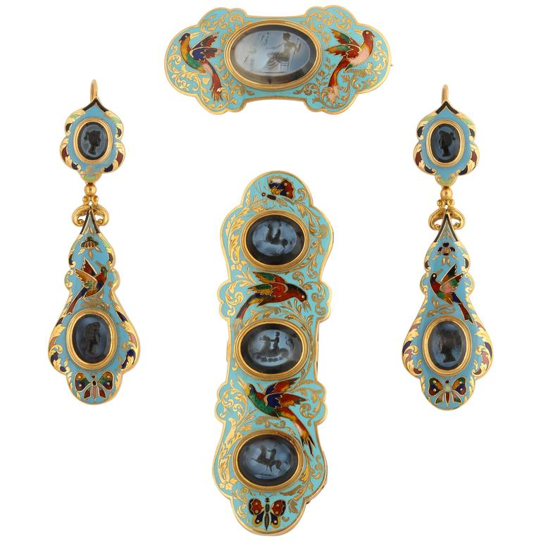 Swiss Enamel and Antique Intaglios Gold Jewelry Suite For Sale