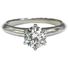 Tiffany & Co. 0.73 Carat Round Brilliant Diamond Platinum Engagement Ring