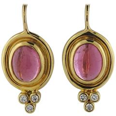 Temple St. Clair Classic Pink Tourmaline Diamond Gold Earrings