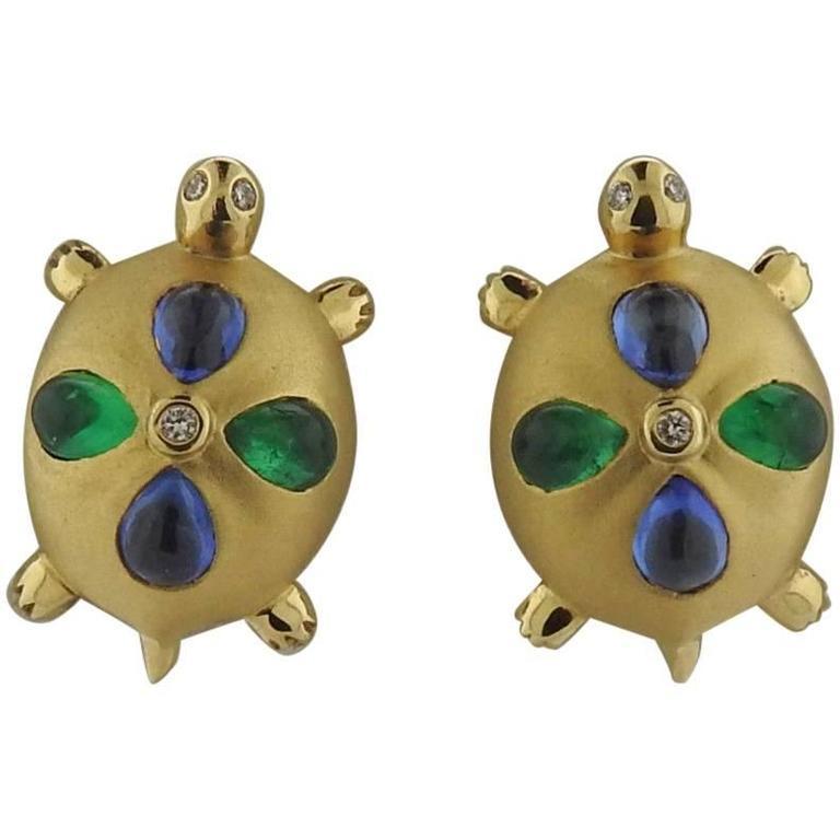Temple St. Clair Sapphire Emerald Diamond Gold Turtle Earrings