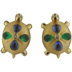 Temple St. Clair Sapphire Emerald Diamond Gold Turtle Earrings