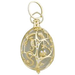 Temple St. Clair Large Crystal Diamond Gold Anima Earth Pendant