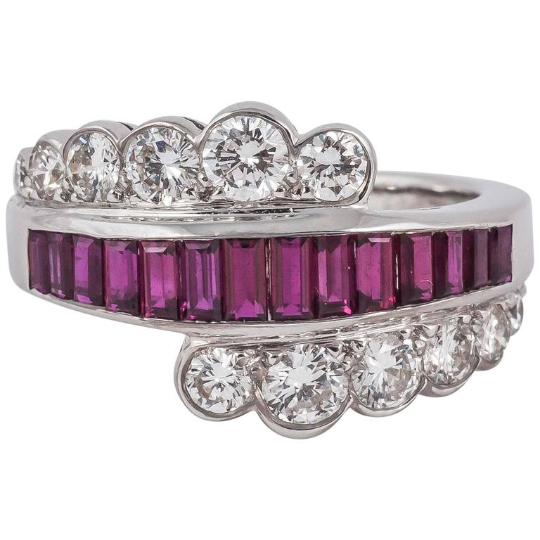 Van Cleef & Arpels Ruby Diamond Gold Ring For Sale