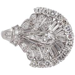 Diamond Platinum Fan Shaped Ring