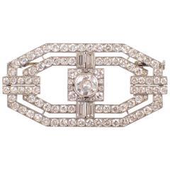 La Cloche Art Deco Diamond Platinum Brooch