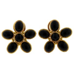 Elizabeth Locke Onyx Gold Flower Earrings