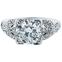 Engaging Art Deco 1.3 Carat Diamond Platinum Ring