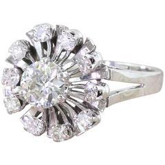 """Retro 1.25 Carat Old European Cut Diamond """"Sunburst"""" Ring"""