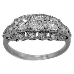 Art Deco .45 Carat Diamond Platinum Three Stone Ring