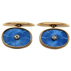 Antique Russian Guilloche Enamel Diamond Gold Cufflinks