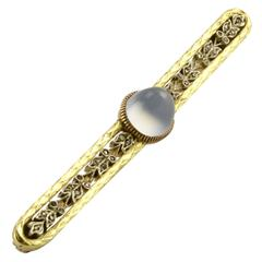 Faberge Antique Moonstone Diamond Two Color Gold Brooch