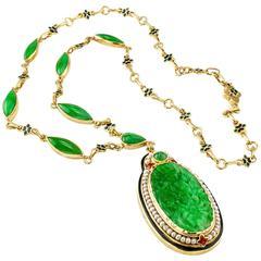 1925 Art Deco Carved Jadeite Pearl Enamel Gold Necklace