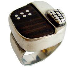 Ed Wiener Studio Sterling Silver and Wood Gentleman's Ring