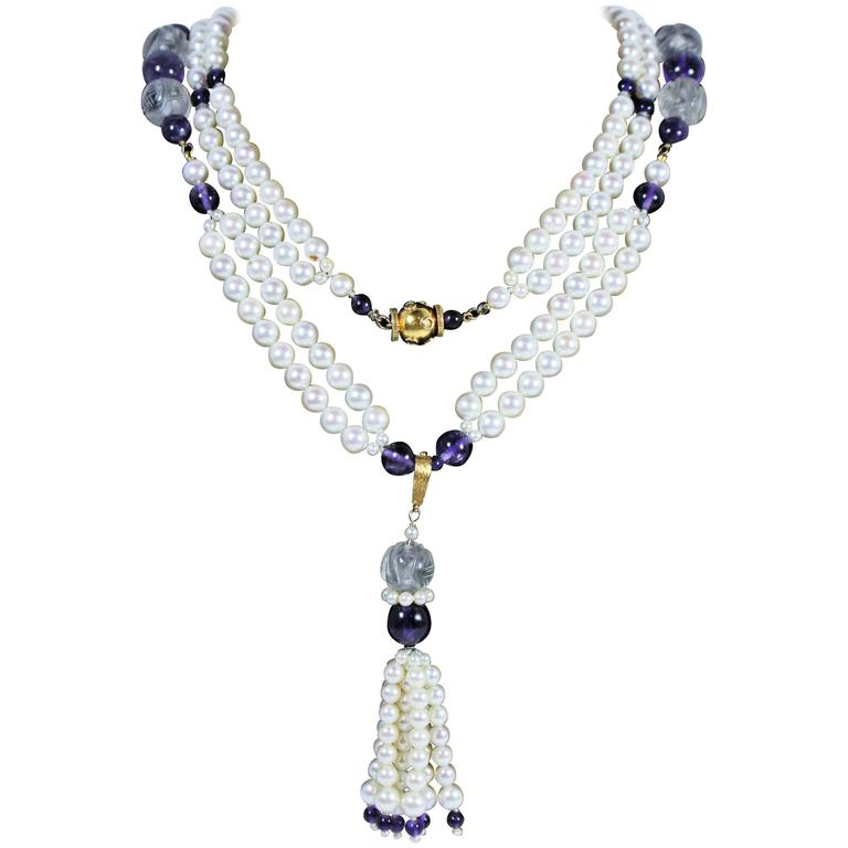 Pearl Cut Crystal Amethyst Gold Tassel and Necklace