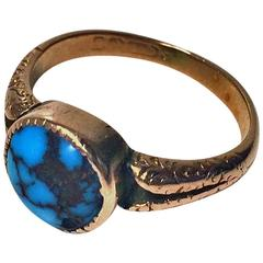 1906 Birmingham Arts and Crafts Turquoise Gold Ring .